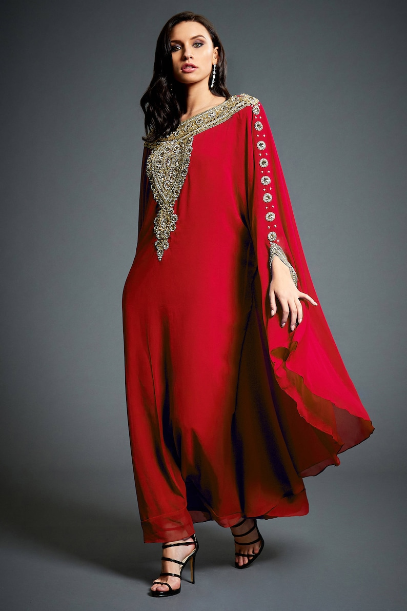 Layla Abaya Caftan Gold Embellished Kaftan Dress Kaftan Maxi  d6f285d93