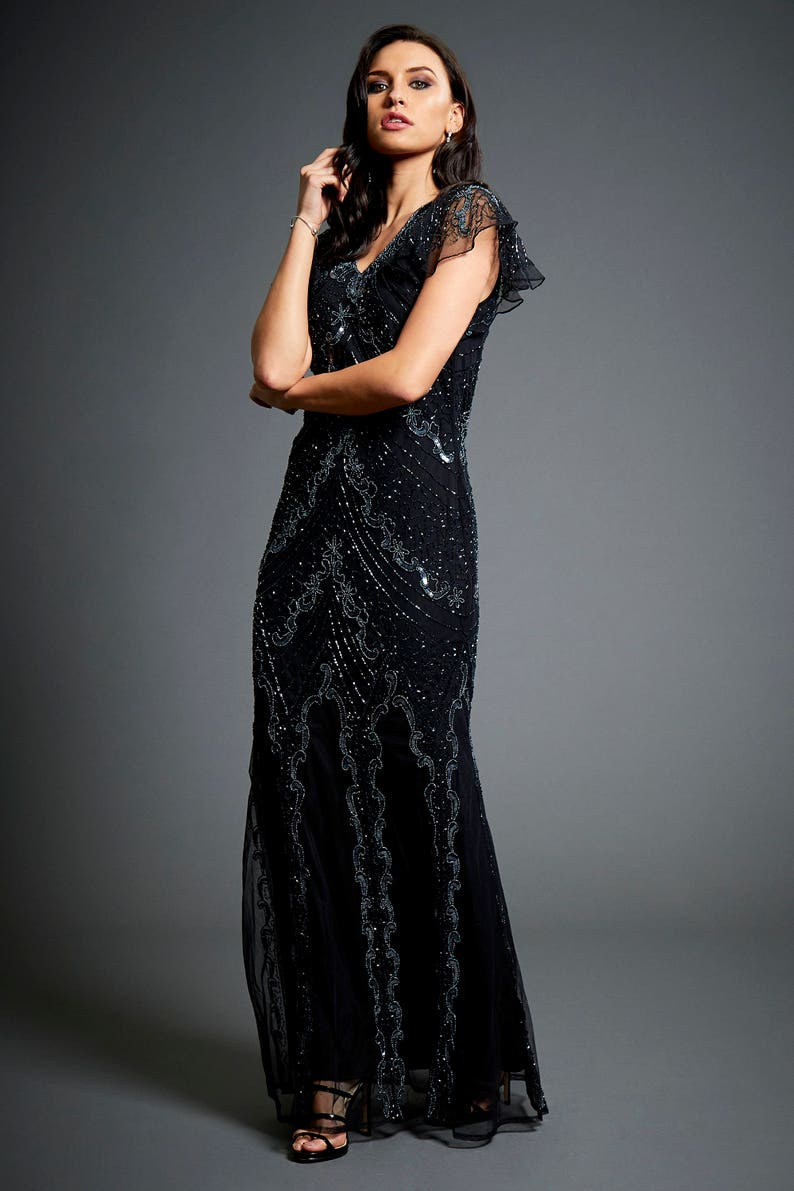 82979bfd8b54 Dame Embellished Long Black Maxi 1920s Great Gatsby Inspired
