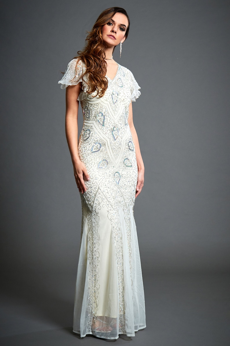 1930s Wedding History Molly Off White Maxi Dress 1920s Gatsby Inspired Downton Abbey Mermaid Wedding Dress With Sleeve Formal Bridal Embellished Dress S-4XL $234.54 AT vintagedancer.com