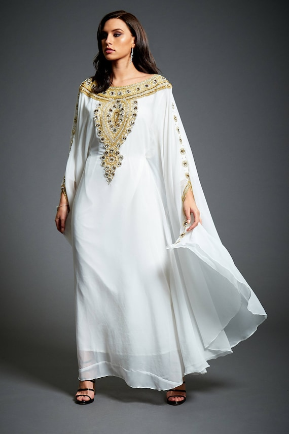 Amira Abaya Caftan Gold Embellished Kaftan Dress Kaftan Maxi Etsy