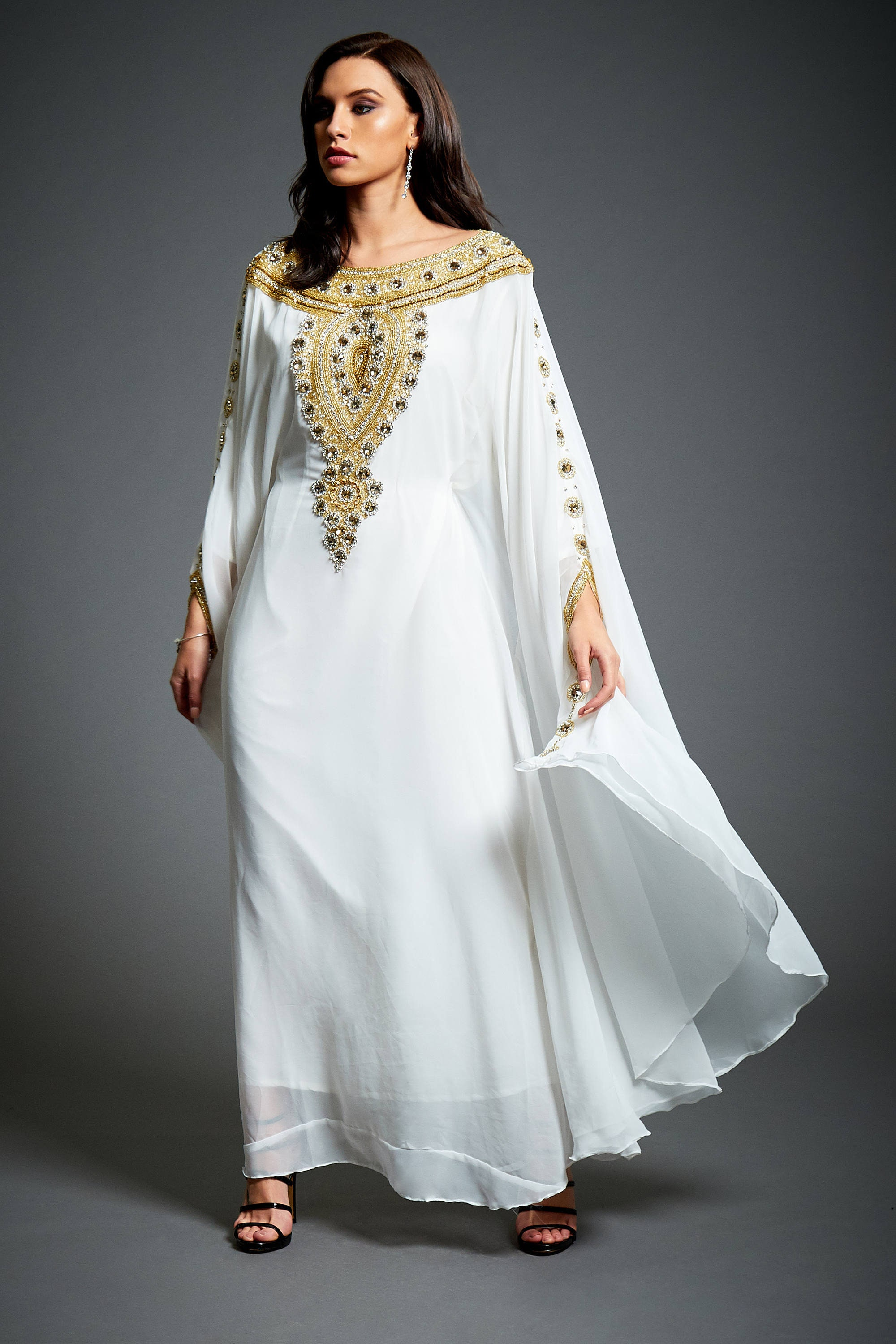 Amira Abaya Caftan Gold Embellished Kaftan Dress Kaftan