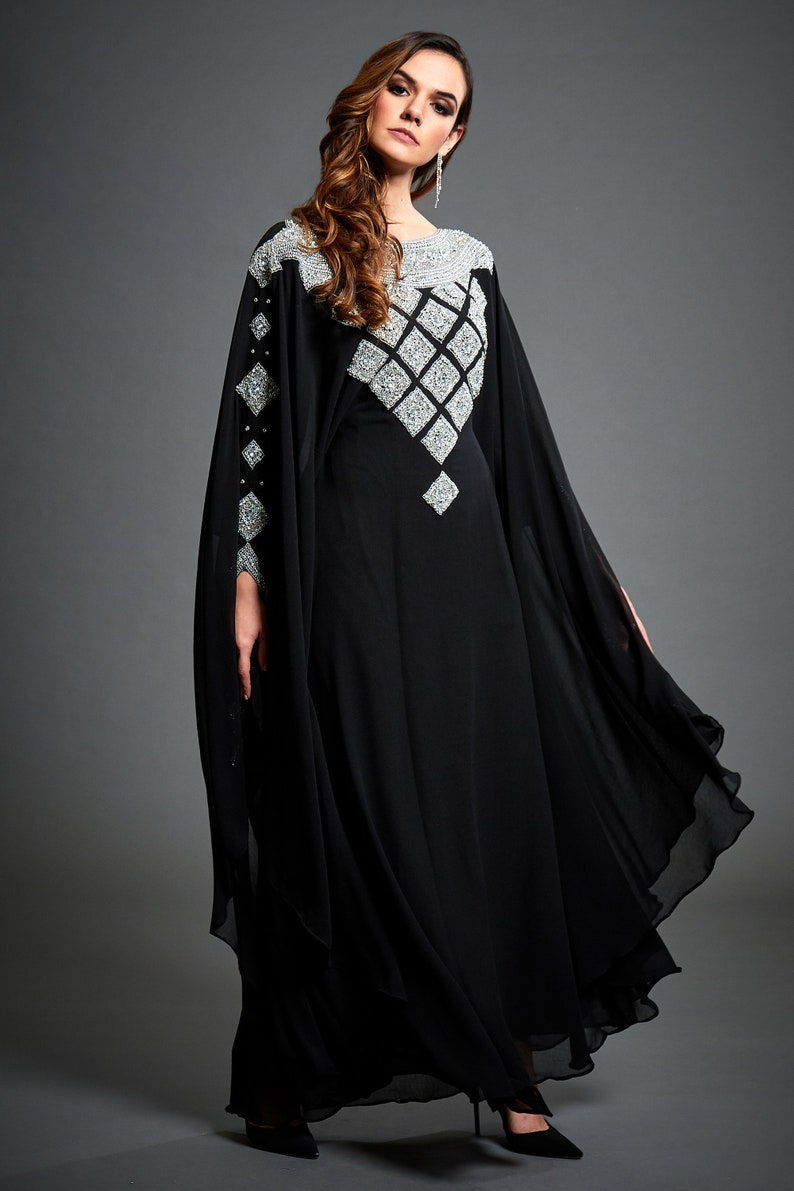 70s Disco Fashion: Disco Clothes, Outfits for Girls Zora Silver Embellished Caftan Black Kaftan Maxi Dress Arabic Kaftan Evening Gown Wedding Occasion Long Black Gown Plus Size S-4XL $175.20 AT vintagedancer.com