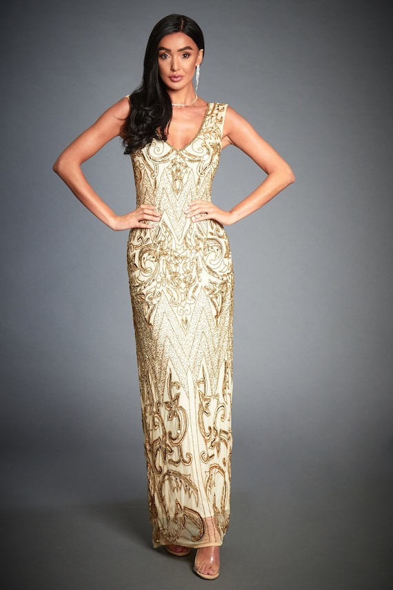 Angie Beaded Flapper, 1920s Great Gatsby Inspired, Art Deco Evening Cocktail Dress, Downton Abbey, 20s Gold Wedding Dress, Plus Size, S 4XL