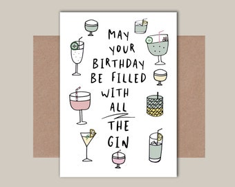 Blank Greeting Card Female Gin Lover Any Occasion Birthday Funny Humour Card
