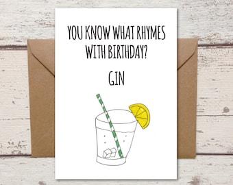 Gin birthday card, Funny Birthday card, friend birthday card, best friend card, gin card, gin birthday, gin present, card for her