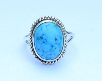 Turquoise ring, Tibetan Ring, 925 solid sterling silver ring, Natural Turquoise Silver Ring, 92.5% sterling silver(custom size,your size) 7
