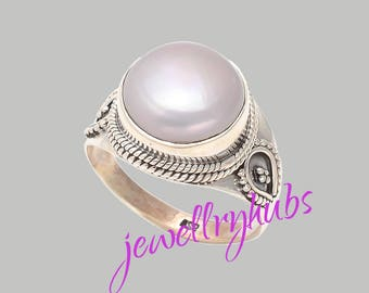 White Pearl Ring Sterling Silver Engagement Rings Hammered Finish ,  R24PR
