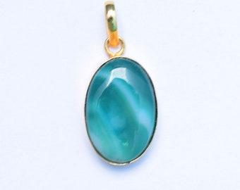 Green Onyx Pendant, Green Stone Pendant, Gold Plated Pendant, Green Onyx Necklace Pendant, Green Onyx Locket, Green Pendant, Stone Pendant