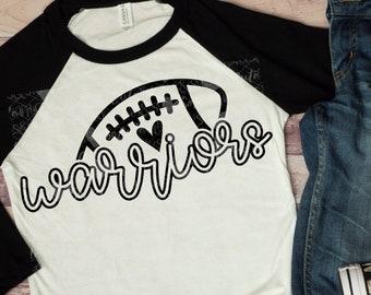 Football, Warriors football svg design, football mom svg, football sister, football shirt, football mama, cut file, football clipart, svg