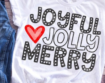Christmas, Joyful jolly Merry SVG file made by SoCuteAppliques available in SVG EPS Dxf and Png formats. Great for Christmas crafts