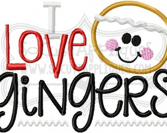 Embroidery design 5x7 6x10 I love Gingers embroidery saying, socuteappliques, Christmas embroidery, Gingerbread embroidery, cookie applique