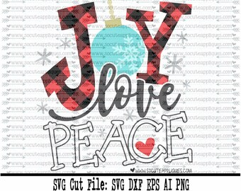 Joy Love Peace plaid Christmas SVG file made by SoCuteAppliques available in SVG EPS Dxf and Png formats. Perfect for Christmas crafts