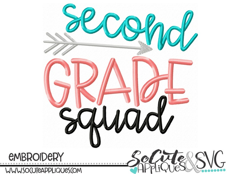 arrow embroidery teacher Back to school Embroidery design 1st day of school socuteappliques school shirt design Second Grade Squad