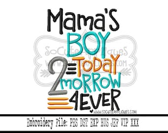 Mothers Day Embroidery design 4x4 5x7 6x10 Mamas Boy socuteappliques, Mothers day applique, New baby embroidery, sibling embroidery