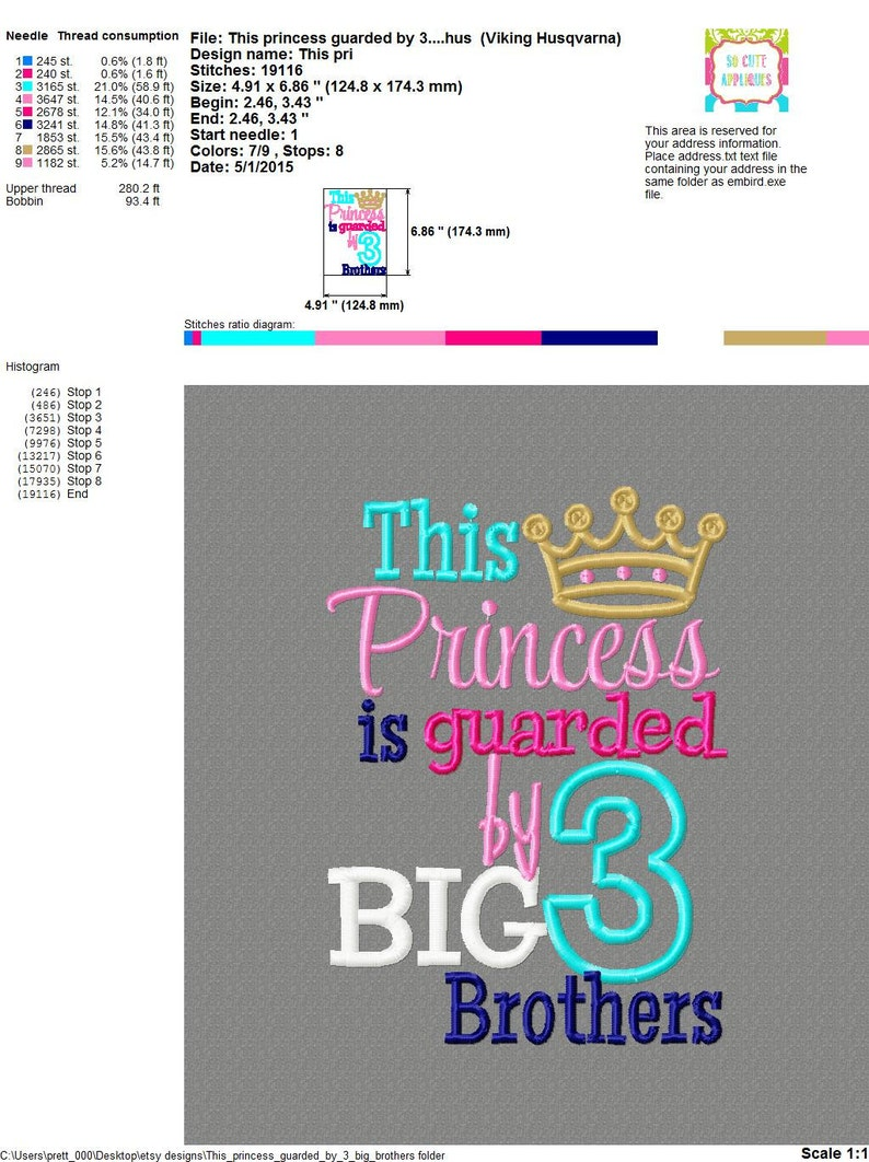 Embroidery design 5x7 Princess guarded by 3 big brothers 5x7 little sister,  big brothers, cute sayings, sibling embroidery, new baby