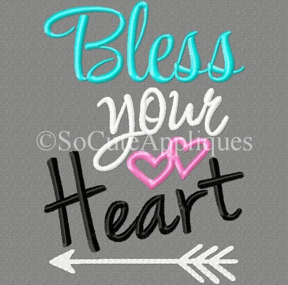 Embroidery Design 5x7 Bless Your Heart 5x7 Arrow Embroidery Etsy