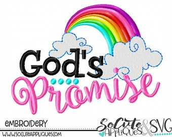 New baby Embroidery design, God's Promise embroidery saying, religious design, rainbow baby embroidery, rainbow embroidery, socuteappliques