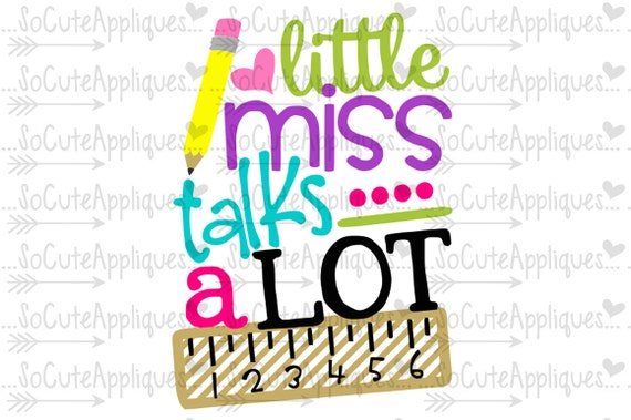 Little Miss Talks A Lot Svg Back To School Kindergarten