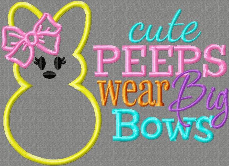 Embroidery design 5x7 Cuties wear big bows 5x7 Easter embroidery designs,  bunny embroidery, Easter saying, socuteappliques, bow embroidery