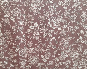 Dark Coffee fabric with an off White Floral Print