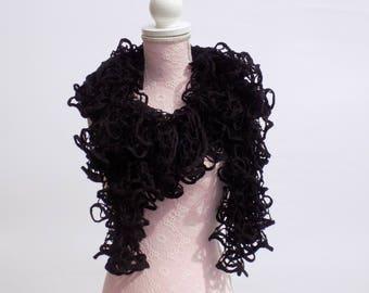 Écharpe tricoter main évasé noir dégradé, col écharpe femme tricoté main  tendance, écharpe moderne tendance femme noir b17eb72442b