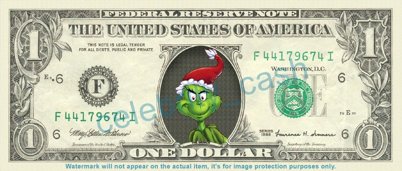 The Grinch Real Dollar Bill Great Stocking Stuffer Idea Etsy