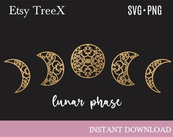Lunar phase SVG, moon phase svg by Oxee, wall art moon silhouette svg, Moroccan moon svg, silhouette svg, cricut svg
