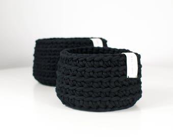 Crochet Basket . Black   Basket   Bowl   Yarn Basket   Crochet Bowl   Handmade   Crochet Storage   Bathroom Storage   Storage Basket