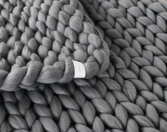 Chunky Knitted Blanket . Grey   Chunky Knit Blanket   Merino Wool Blanket   100% Merino Wool   Giant Throw   Chunky   Arm Knitting