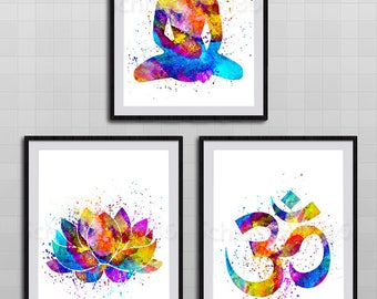 Set of 3 yoga meditation zen watercolor art print om symbol etsy set of 3 yoga meditation zen watercolor art print om symbol buddha lotus flower wall decor birthday gift set b mightylinksfo