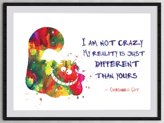 Cheshire Cat Quote From Alice In Wonderland Watercolor Art Etsy