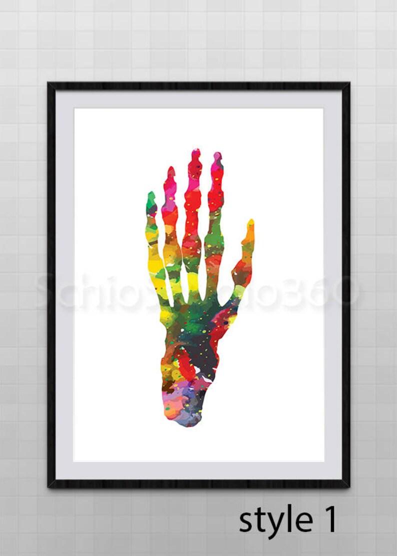 Hand Anatomie Aquarell Kunstdruck Hand Anatomie Poster Etsy
