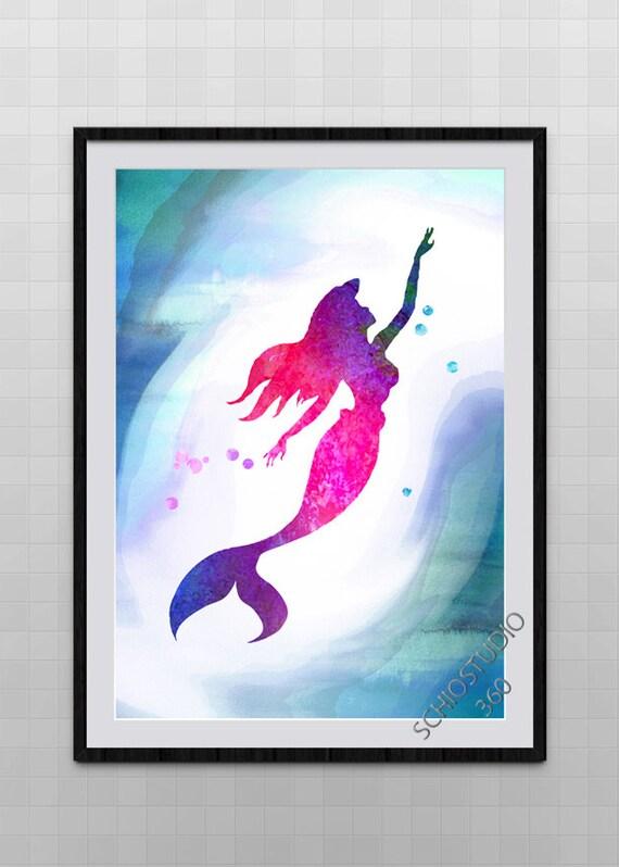Little Mermaid Watercolor Painting Archival Fine Art Wall   Etsy