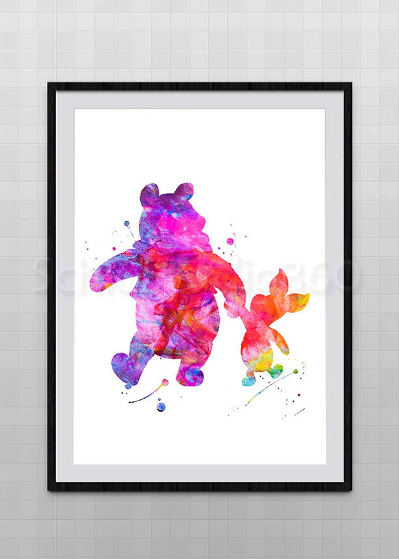 f1289ba53 Winnie the pooh and Piglet Watercolor Art Print Archival