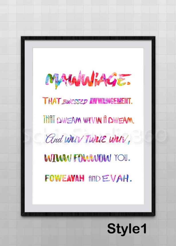 Princess Bride Mawwiage Quote Watercolor Art Print 2 Etsy