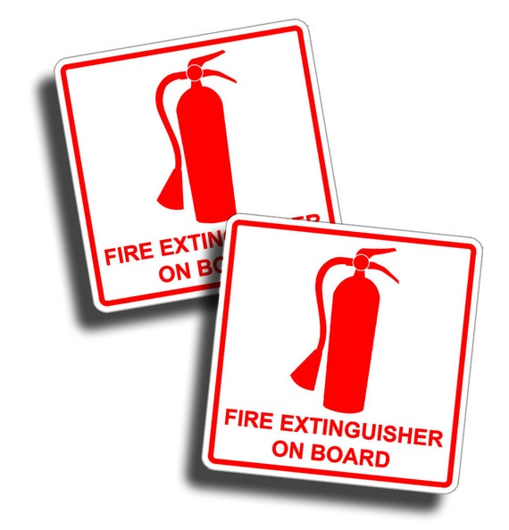 Safety Notice Fire Extinguisher On Board Self Adhesive Vinyl Sticker Decal Windo