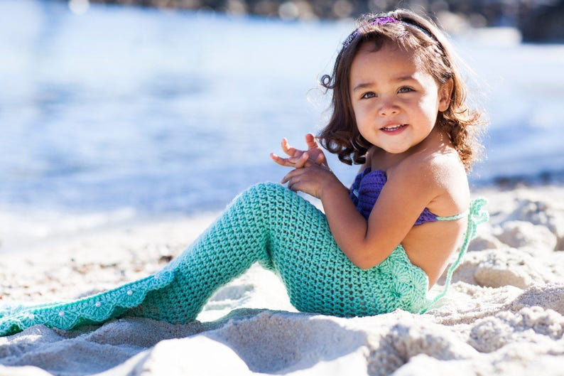 Crochet Mermaid Tail With Top And Starfish Headband 3 Pc Etsy