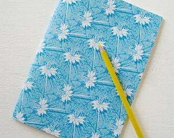 A5 Floral Notebook in blue