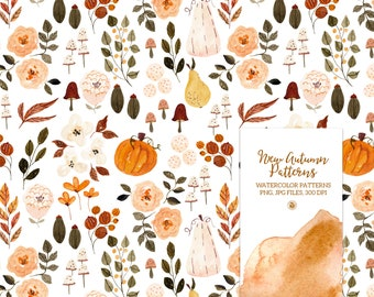 5 watercolor hand painted floral digital patterns, digital patterns, autumn fabrics, watercolor seamless patterns - New Autumn Patterns