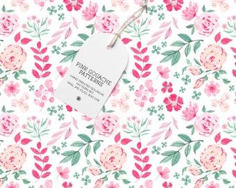 5 gouache hand painted floral digital patterns, nursery digital patterns, fabrics set, gouache seamless patterns - Pink Gouache Patterns set