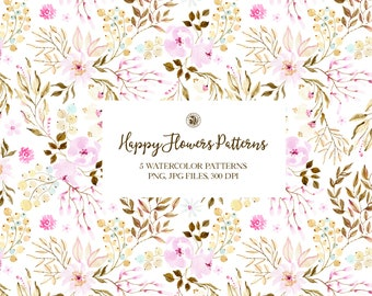 5 watercolor hand painted floral patterns, colorful patterns, flowers fabrics, watercolor background patterns - Happy Flowers Patterns