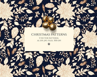 3 vector Christmas seamless patterns, vector pattern, Noel patterns, Christmas background, mistletoe patterns, floral winter pattern, papers