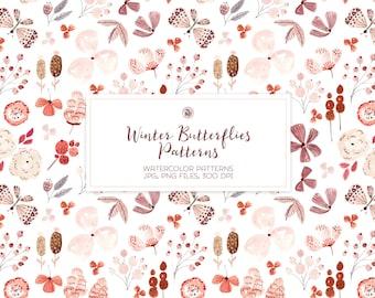 5 watercolor hand painted floral digital patterns, nursery digital patterns, fabrics set, watercolor seamless patterns - Winter Butterflies
