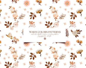 5 watercolor hand painted floral digital patterns, digital patterns, flowers fabrics, watercolor background patterns - Warm Colors Patterns