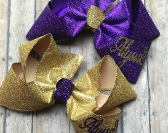 Purple and Gold Hair Bows for Girls