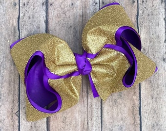 Purple and Gold Hair Bow HaIrbow LSU Bows