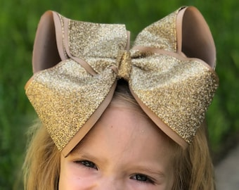 """8""""+ Jumbo Glitter Bows, 8"""" Gold bows, Huge Pageant Dance Bows Jumbo Glitter Bow, 8"""" Gold Bow, 8 Inch Glitter Bows, Sparkly Bows,"""