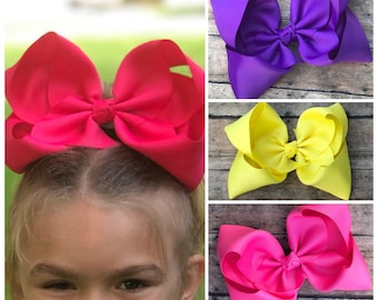 """7-8"""" hair bows for girls, jojo bows, 7"""" hair bows, huge big hair bows for girls, Back to School"""