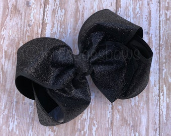 """6""""+ Black Glitter Bow, Black Glitter Hair Bow, Black Hair Bow, 6"""" Black Bow, 6"""" Black Hair Bow, 7"""" Black Bow, 7"""" Black Hair Bow"""