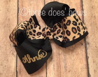 Personalized Cheetah Bow, Personalized Leopard Bow, Animal Print Bows, Animal Print Hair Bows, Leopard Print Bow